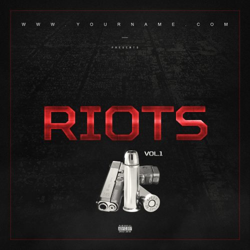 Riots Mixtape Cover PSD Photoshop Template Front