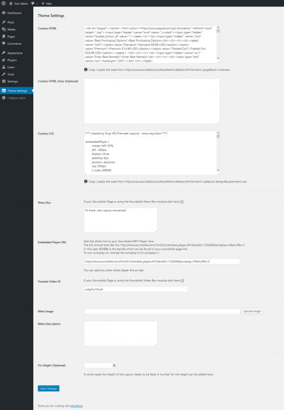 Soundclick to Wordpress Converter Theme Backend Admin