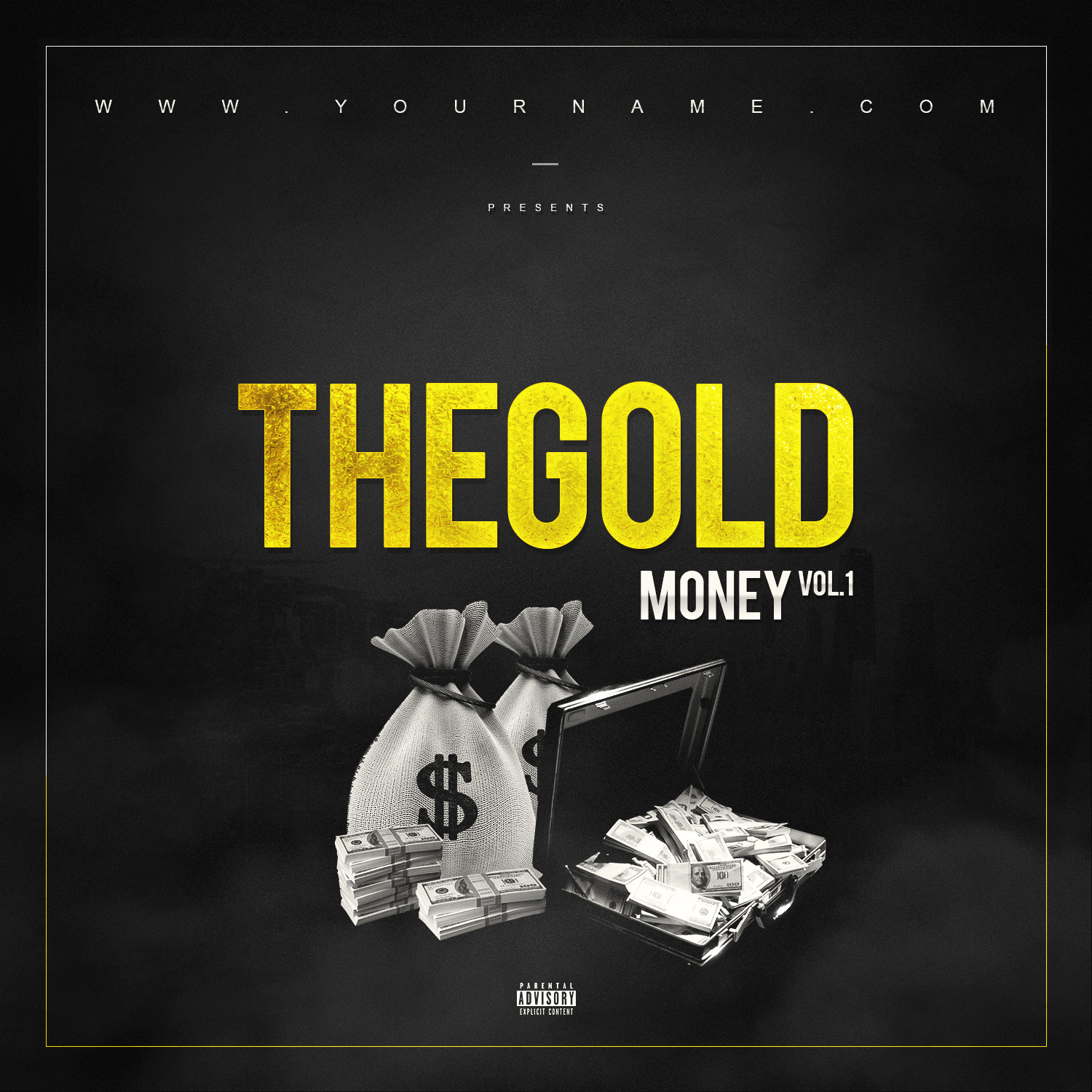 Gold money mixtape cover template vms for Free mixtape covers templates