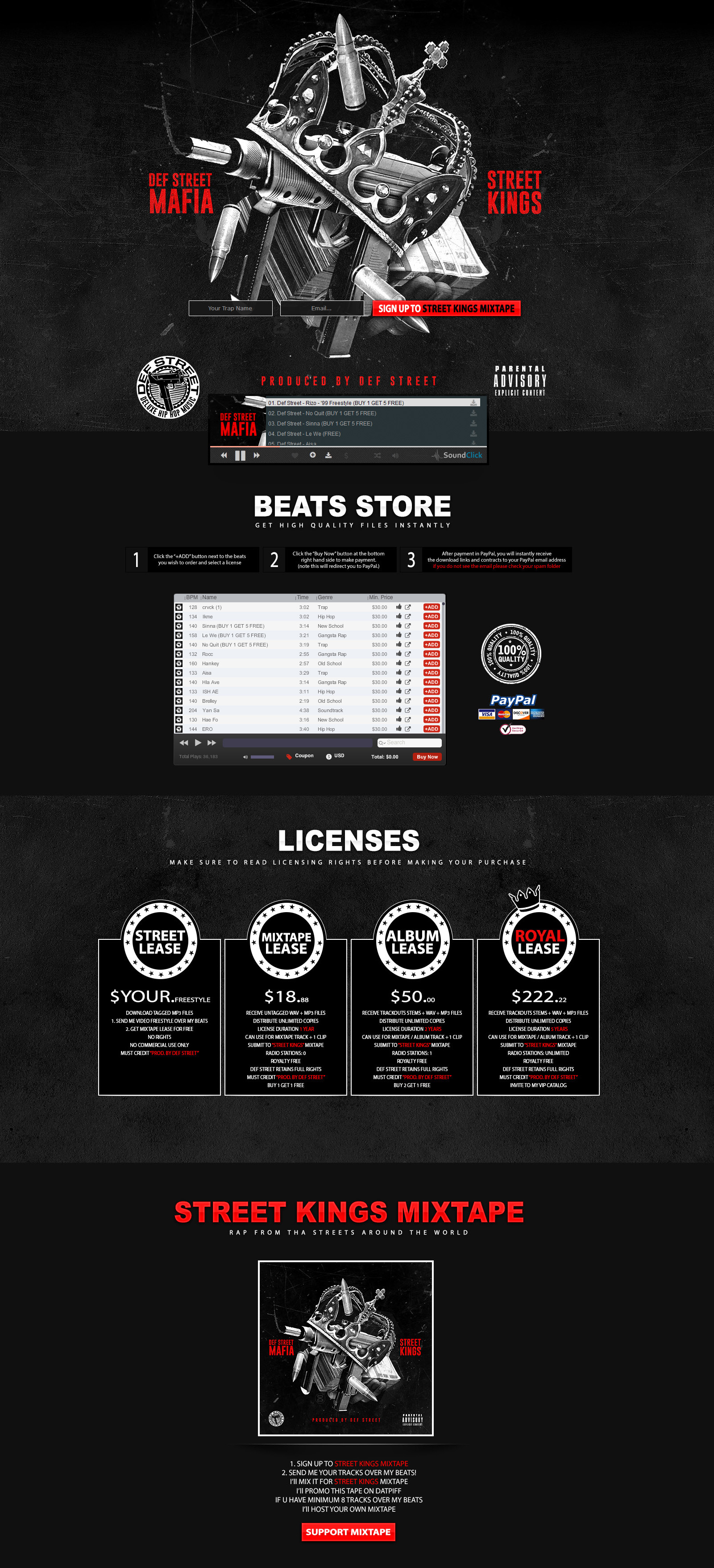 Def Street Music Custom Soundclick Layout