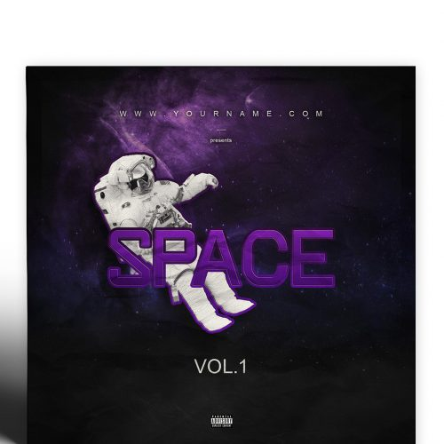 Space Premade Mixtape Cover Template Preview