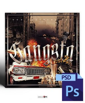Gangsta Mixtape Cover Template PSD