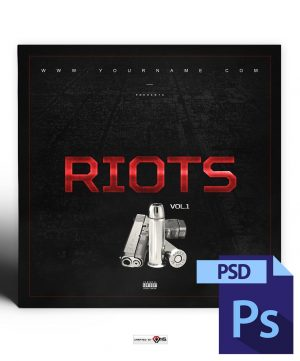 Riots Mixtape Cover Template PSD