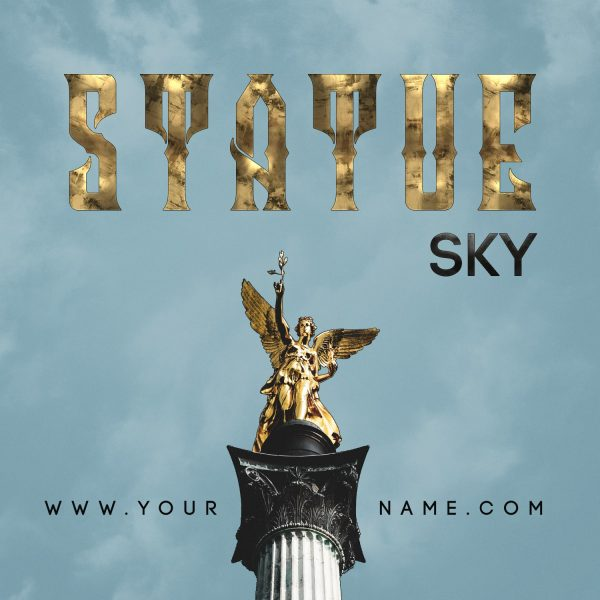 Statue Sky Mixtape Cover Photoshop PSD Template Frontcover