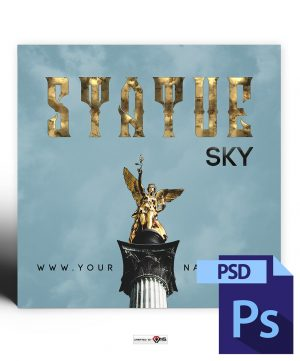 Statue Sky Mixtape Cover Photoshop PSD Template