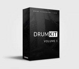 Clean B/W premade Drumkit Box Design