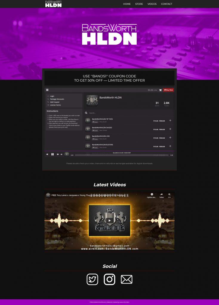 BandsworthHLDN custom one page website beatstore
