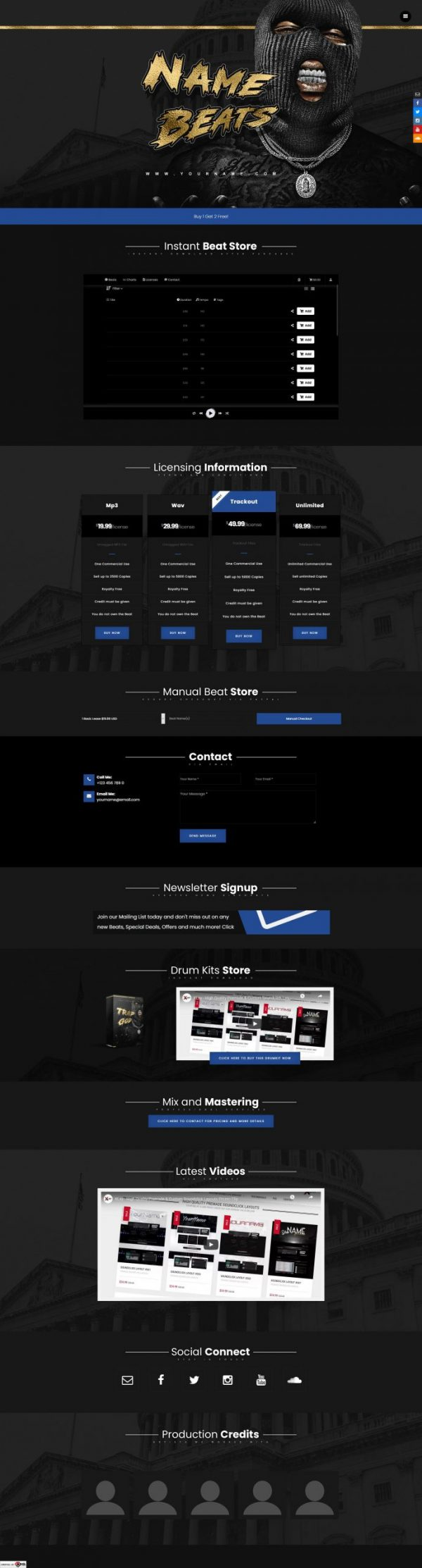Premade One Page Website #072 Fullsize Preview