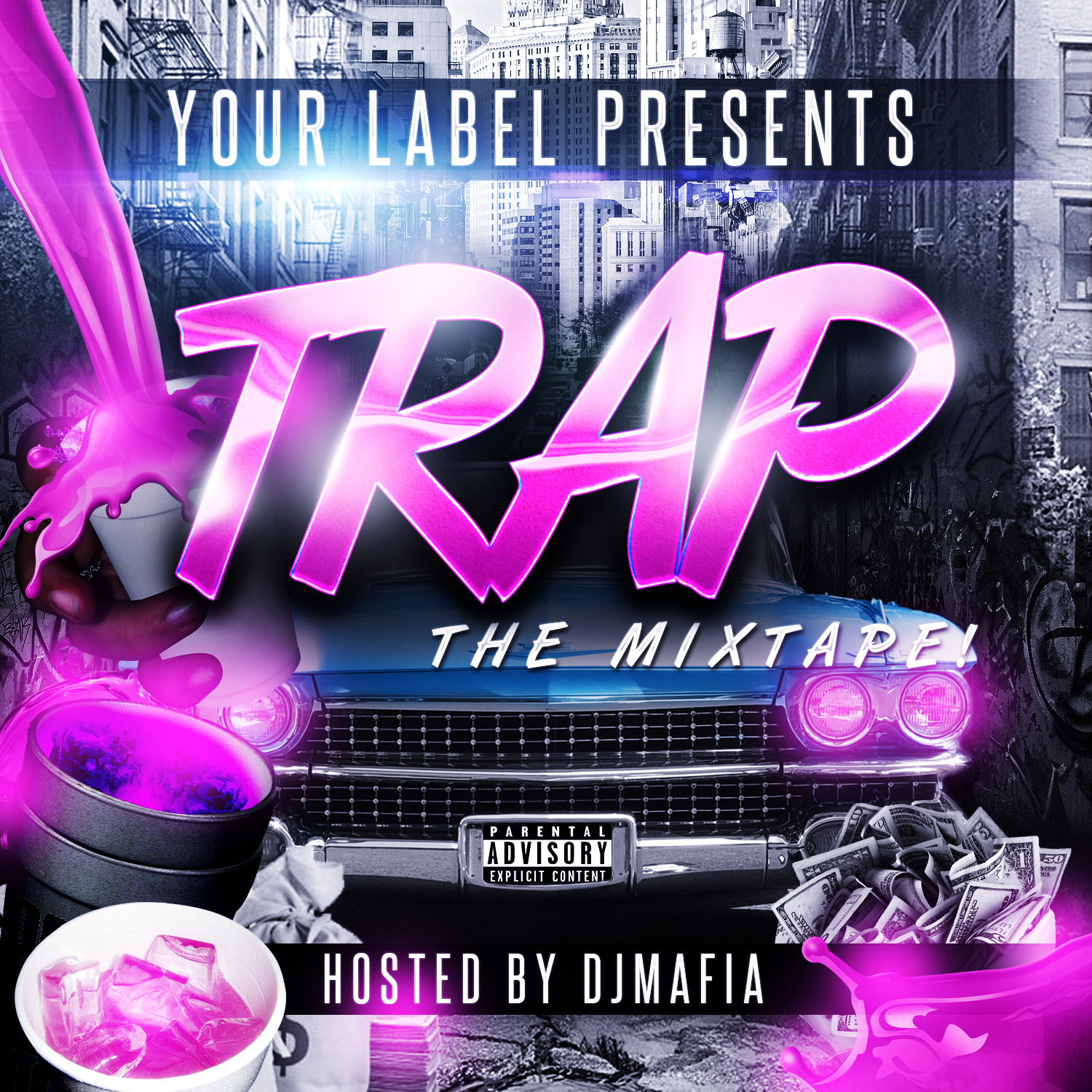 trap soda street mixtape cover template vms